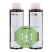 KORRES 1+1 ΔΩΡΟ Σαμπουάν Πρωτείνες Ρυζιού και Τίλιο για Λεπτά / Αδύναμα Μαλλιά 250ml+250ml