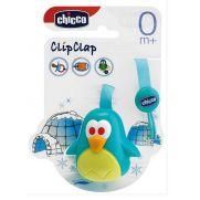 CHICCO Clip Clap Κλιπ πιπίλας με υφασμάτινη κορδέλα πιγκουίνος 0m+
