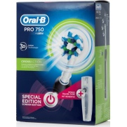 Oral-B Pro 750 Cross Action 3D Black Special Edition Ηλεκτρική Οδοντόβουρτσα & Δώρο Θήκη Ταξιδιού, Μαύρο Χρώμα, 1 τεμάχιο